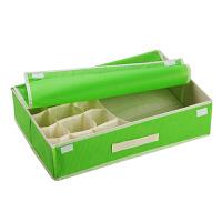 二合一糖果色(15+1格)清新带盖无纺布文胸内衣袜子整理盒 绿色