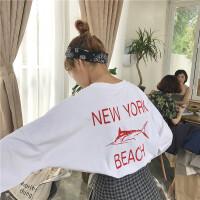 早秋女装韩版原宿bf风百搭长袖T恤字母印花宽松圆领上衣打底衫潮