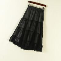 新女装夏 纯色黑白拼接透视松紧腰中长半身裙女