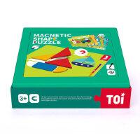TOI几何形状进阶磁力拼图拼板七巧板儿童益智力玩具男女孩3-4-5岁