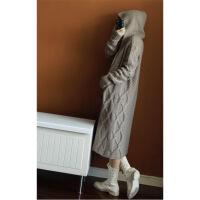 重磅纯色羊绒开衫羊毛女中长款过膝加厚连帽针织外套大衣休闲款