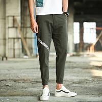 新款2018男士裤子夏季夏季亚麻裤男裤宽松九分裤韩版棉麻料薄潮流