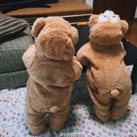 婴儿冬装初生儿外出抱衣动物衣服可爱爬服宝宝小熊连体衣加厚网红