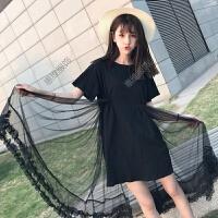 黑色连衣裙女夏季学生可爱小清新裙子便宜中长学院风2017新款