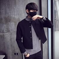 潮男新款韩版修身无领简约呢子大衣秋冬短款男士休闲外套毛呢风衣