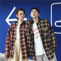 韩国个性格子长袖衬衫男女士春秋港风宽松衬衣学生潮情侣