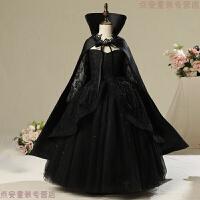 圣诞节儿童服装女co白雪公主裙 女巫化装舞会演出服 黑色【送披风】