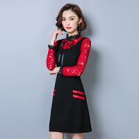 秋冬新款韩版蕾丝连衣裙假两件收腰打底腰带气质显瘦A字女裙