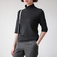 2018春装新款韩版棉色半袖中袖T恤女修身高领打底衫小衫冬季