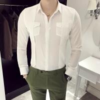 发型师男装衬衫韩版修身长袖衬衫夜店时尚潮流个性假两件白衬衫