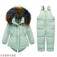 冬季儿童羽绒服 新款男女童1-3岁加厚幼儿宝宝保暖白鸭绒套装秋冬新款