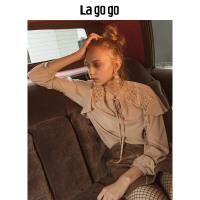 Lagogo/拉谷谷女装长袖直筒衬衫2019秋季新款宫廷风雪纺衫上衣