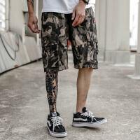 UXE嘻哈风个性潮流多袋工装裤男潮牌军事迷彩五分裤原宿休闲短裤