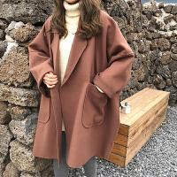 毛呢大衣女秋冬季新款韩版学院风宽松显瘦百搭中长款翻领呢子外套