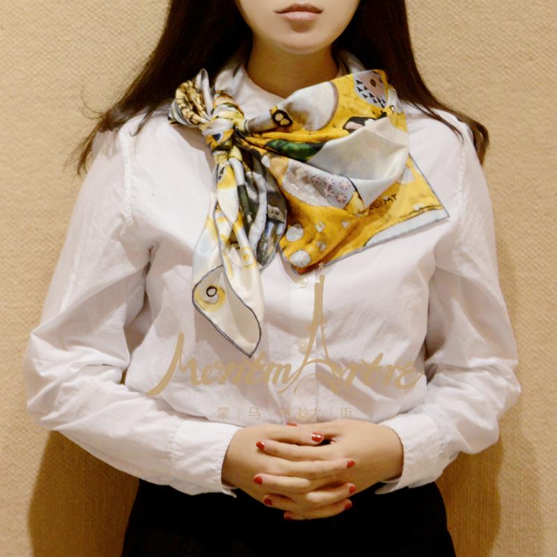 蒙马特大街礼物真丝丝巾斜纹桑蚕丝方巾围巾白领克里姆特金色期待