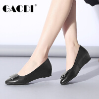 高蒂女鞋小坡跟春季2018新款尖头舒适低跟女单鞋牛皮简约浅口鞋子