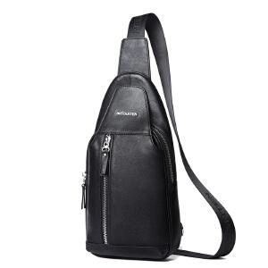 (可礼品卡支付)波斯丹顿胸包男士真皮韩版休闲斜挎包单肩牛皮小背包运动腰包男包B5152041