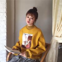 2018春季女装新款韩版半高领卡通贴画宽松学生百搭套头卫衣外套潮 均码 (160/84A)