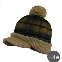 时尚女士冬帽格子毛呢针织帽保暖帽鸭舌帽秋冬季男士帽子