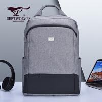 【1件5折】七匹狼双肩包男士牛津纺大容量休闲旅行电脑背包时尚初中学生书包