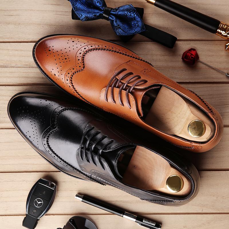 宜驰 EGCHI 皮鞋男士商务正装布洛克皮德比鞋休闲皮男鞋 36001