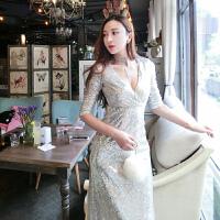 泰国潮牌性感V领亮片晚礼服裙女秋装新款气质修身显瘦鱼尾连衣裙 银色