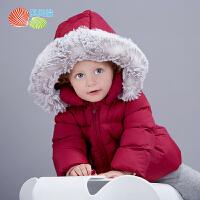 贝贝怡女童棉服冬装新款 韩版宝宝连帽防风夹棉加厚保暖外套194S2320