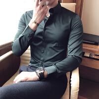 春款衬衫男长袖修身韩版商务英伦潮衬衣青年学生打底内搭寸衫