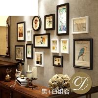 创意组合相框墙背景框相片墙实木照片墙欧式客厅玄关美式装饰挂墙