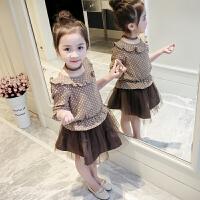 女童套装2018新款春装女孩春秋韩版时髦短裙子4岁宝宝5公主6洋气