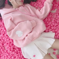 慈姑加绒卫衣女连帽外套秋冬新款日系粉色宽松上衣学生长袖原宿带帽衫