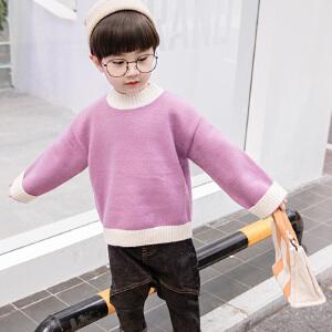 乌龟先森 毛衣 男童长袖圆领单色套头衫秋季新款韩版儿童时尚休闲舒适百搭中小童针织衫