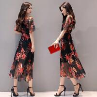 民族风印花连衣裙新款高腰修身短袖不规则V领气质长裙女夏