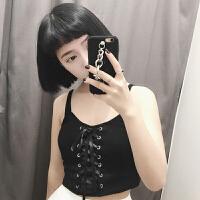 夏装韩版绑带修身显瘦短款露脐吊带衫外穿小背心学生打底上衣女士 黑色 均码