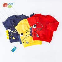 贝贝怡男童卫衣秋季新款 宝宝加绒保暖防风可爱卡通套头绒衫193S2282
