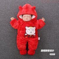 网婴儿圣诞节冬装宝宝红色满月外出抱新生儿加绒加厚连体拜年衣服 430猫 收藏关注送运费险