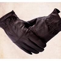 秋冬男式休闲羊皮手套男士真皮手套加厚保暖分指手套