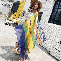 丝巾女士夏季防晒披肩百搭海边海滩度假沙滩巾超大纱巾民族风围巾