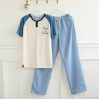 夏季男士睡衣棉质薄款针织短袖短裤韩版休闲男青少年家居服套装