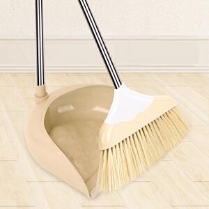物有物语 扫把簸箕套装 仿猪鬃毛软毛不锈钢杆套组合扫把塑料可刮除毛灰簸箕加密扫把丝清洁工具