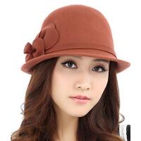 冬季帽子 羊毛毡帽子女 秋冬天潮时尚礼帽 呢帽