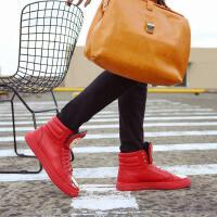 CUM 红色高帮板鞋个性马丁靴男鞋英伦短靴休闲鞋内增高