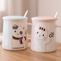 马克杯带盖勺卡通情侣对杯陶瓷喝水杯子茶杯简约咖啡杯牛奶杯