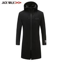 拉夏贝尔男装Jackwalk羊毛大衣冬季新品连帽中长款外套男休闲