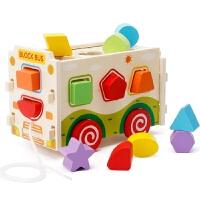 儿童木制拆装积木拉车男孩女宝宝早教智力形状配对1-3-6周岁玩具