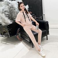 女装小脚裤短袖连帽卫衣两件套2018夏装新款韩版修身显瘦时尚套装