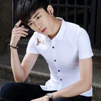 男士短袖衬衫韩版休闲修身款青少年薄款夏季个性潮男印花衬衣