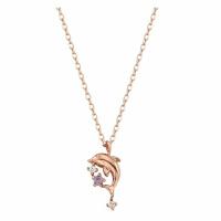 韩版新款项链S925银饰海豚吊坠时尚简约女款锁骨链