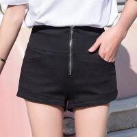 黑色牛仔短裤女夏2018新款韩版高腰宽松ins超火阔腿拉链超短热裤