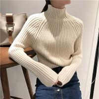 ulzzang毛衣女冬季韩国修身加厚保暖高领套头纯色chic打底针织衫 均码